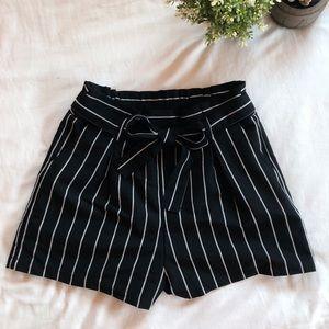 Forever 21 Paperbag Waist Shorts (black + stripes)